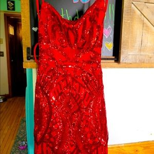 lucy in the sky red sequins party dress